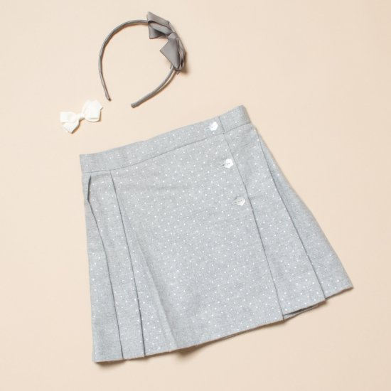 <img class='new_mark_img1' src='https://img.shop-pro.jp/img/new/icons14.gif' style='border:none;display:inline;margin:0px;padding:0px;width:auto;' />Amaia Kids - Elise skirt - Silver dots アマイアキッズ - 水玉ラップスカート