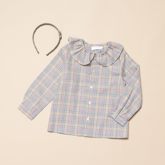 <img class='new_mark_img1' src='https://img.shop-pro.jp/img/new/icons14.gif' style='border:none;display:inline;margin:0px;padding:0px;width:auto;' />Amaia Kids - Lorie top - Grey tartan アマイアキッズ - チェック柄ブラウス