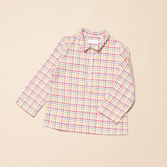 <img class='new_mark_img1' src='https://img.shop-pro.jp/img/new/icons14.gif' style='border:none;display:inline;margin:0px;padding:0px;width:auto;' />Amaia Kids - Oliver shirt - Mustard/Red アマイアキッズ - チェック柄長袖シャツ