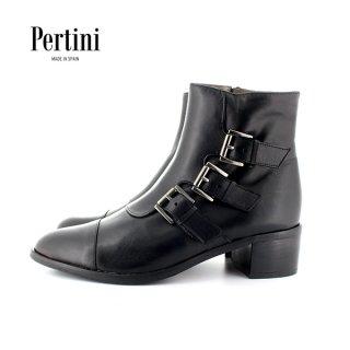 Pertini<br>182W15422<br>3連ベルトストレートチップブーツ