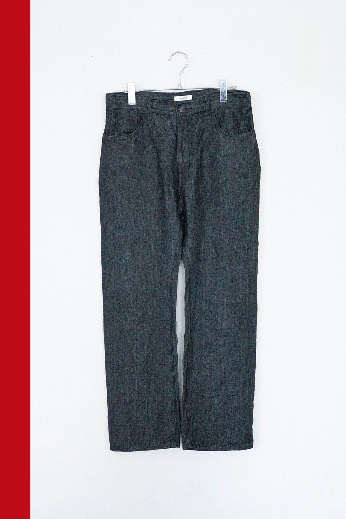 whowhat / LINEN DENIM SLIM FLARE PANTS (BLACK)
