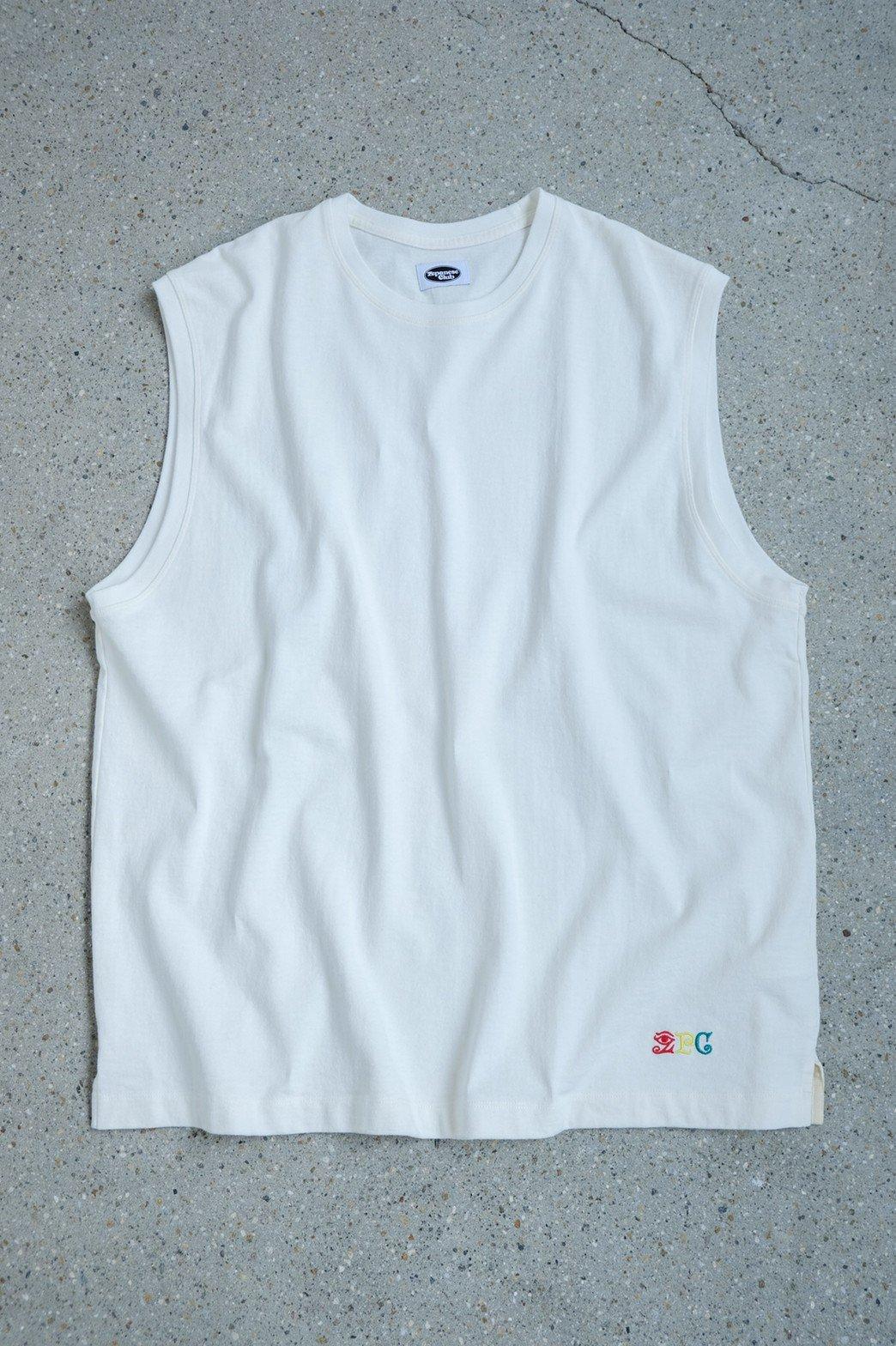 Zepanese Club / 刺繍 NO SLEEVE TEE WHITE