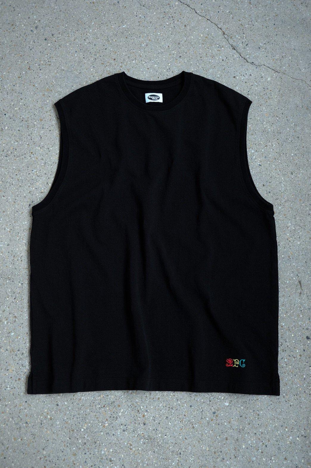 Zepanese Club / 刺繍 NO SLEEVE TEE BLACK