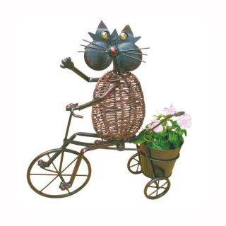 アニマルポット(85672) 自転車猫1[動物型のフラワーポット]