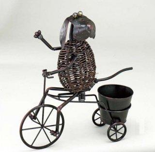 アニマルポット(85673) 自転車犬2[動物型のフラワーポット]