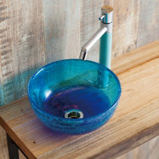 琉球ガラス 手洗ボウル(排水金具32mm付き)