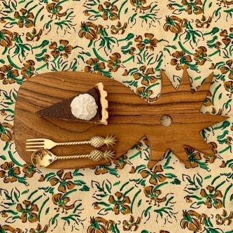 パイナップル ウッドボード&スプーン&フォーク セット