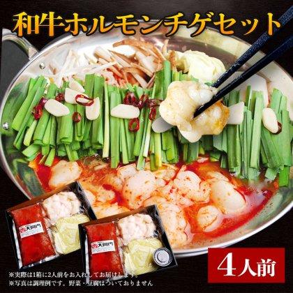 和牛ホルモンチゲセット 〆の盛岡冷麺付き 4人前/ホソ(小腸) 本格 スープ お取り寄せ