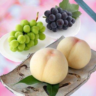 【超特級】詰め合わせ:清水白桃 3玉 ・シャインマスカット 1房 ・ピオーネ 1房