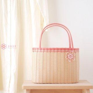 【数量限定★販売終了】花飾りが可愛いカゴバッグ*ピーチ