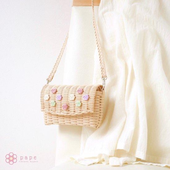 パステルカラーが可愛い花ボタンのミニポシェット*ナチュラル【受注生産】
