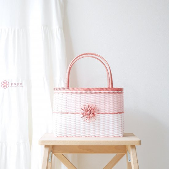 華やかな花飾りのカゴバッグM*バイカラーピンク【受注生産】
