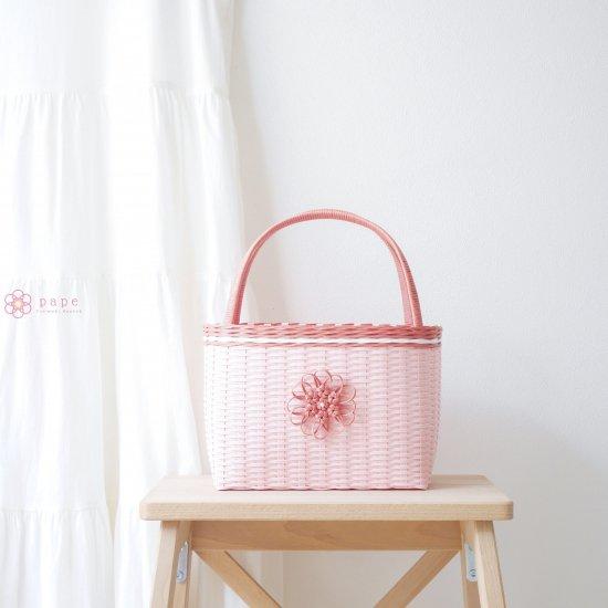 華やかな花飾りのカゴバッグS*ピンク