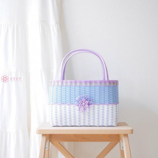 華やかな花飾りのカゴバッグM*バイカラーブルー【受注生産】