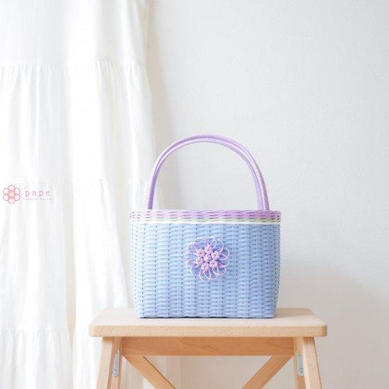 華やかな花飾りのカゴバッグS*パステルブルー【受注生産】