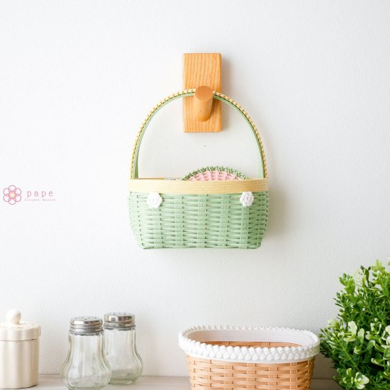 カゴバッグみたいな壁かけバスケットSサイズ*パステルグリーン