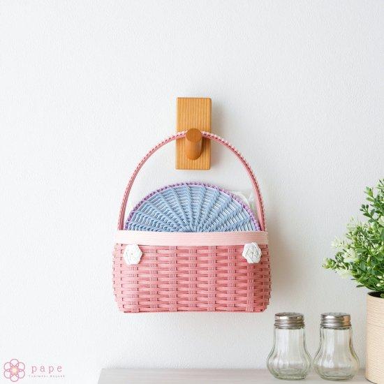 カゴバッグみたいな壁かけバスケットMサイズ*ピンク