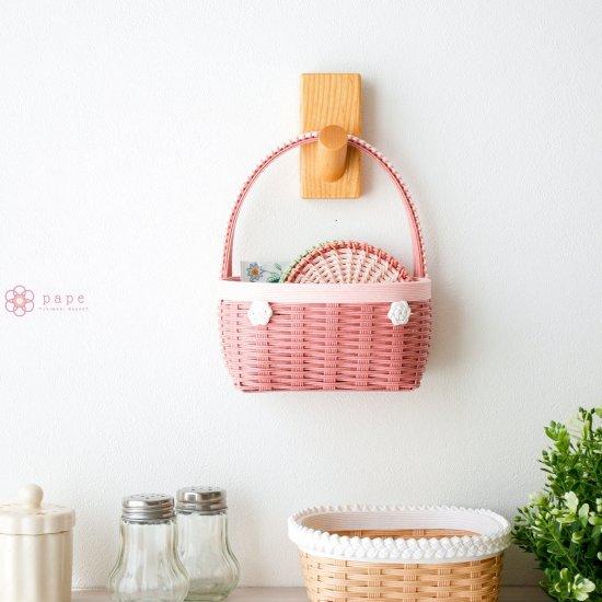カゴバッグみたいな壁かけバスケットSサイズ*ピンク