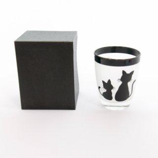 漆芸ガラス 親子猫 黒