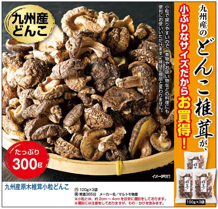 九州産原木椎茸小粒どんこ100g×3袋