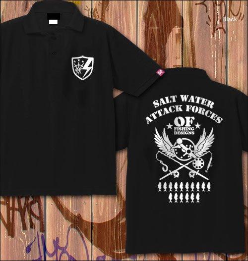 S.W.A.F フィッシングポロシャツ / ミリタリーテイストで、ソルトウォーターフィッシングをデザイン、12種類の釣り魚から選べる!