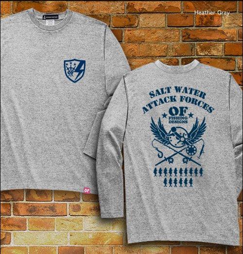 S.W.A.F フィッシング長袖Tシャツ / ミリタリーテイストで、ソルトウォーターフィッシングをデザイン、12種類の釣り魚から選べる!
