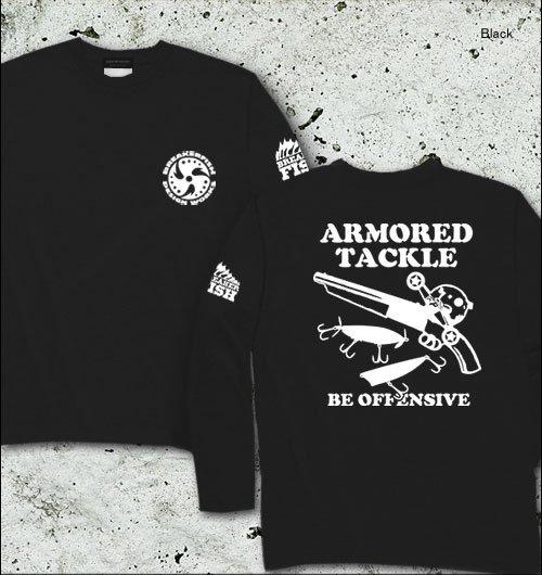 ARMORED TACKLE バスフィッシング長袖Tシャツ / バスフィッシングの世界を、アウトローなイメージでデザイン!