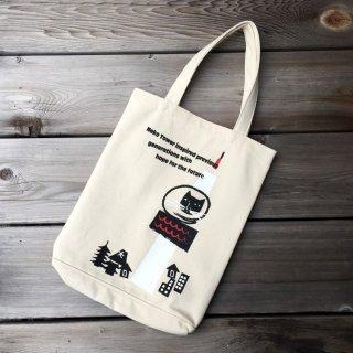 京都 kitekite (キテキテ)  帆布トートバッグ 京都タワーと猫