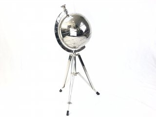 GLOBE IN NICKEL ON STAND 'WORLD' Small