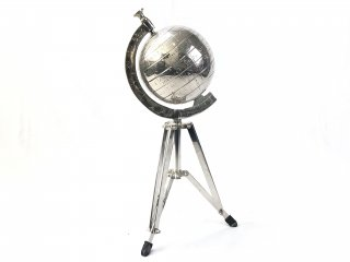 GLOBE IN NICKEL ON STAND 'WORLD' Large