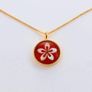 小さなお花の水晶螺鈿ペンダント