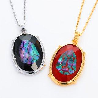 虹色ビジュー 水晶螺鈿ペンダント【光の果実】