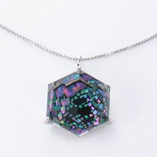プリズムが美しい水晶螺鈿ペンダント【オーロラ】大