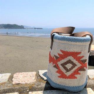 手織り刺繍バッグ・ケース ホワイト