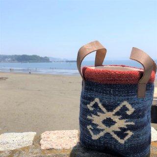 手織り刺繍バッグ・ケース ネイビー