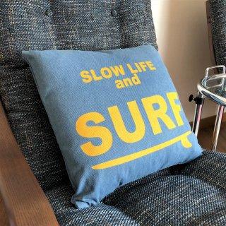 西海岸インテリアに最適!SURFデザインのデニムクッション ネイビー