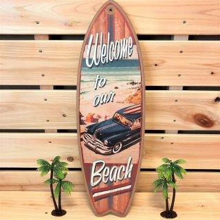 西海岸インテリアに溶け込むサーフボード型オブジェ。ウェルカムトゥアワービーチ