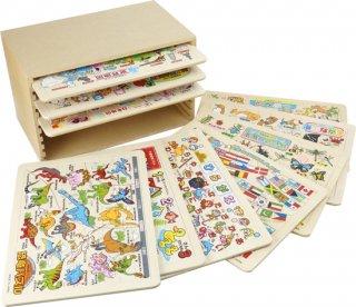 木製 知育パズル10枚組 収納BOX付き
