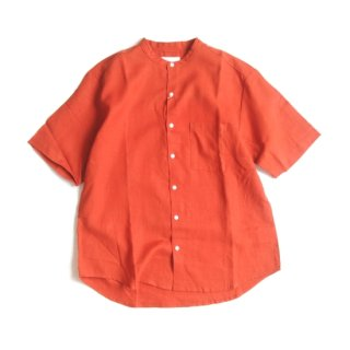 Manual Alphabet<br>LINEN LOOSE FIT BAND COLLAR SHIRT 【メール便にてお届け致します】