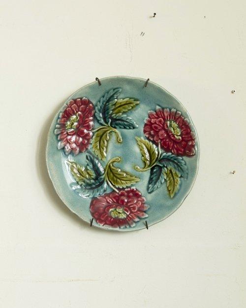 """バルボティーヌプレート """"花"""".a  Barbotine Plate """"  Flower"""""""