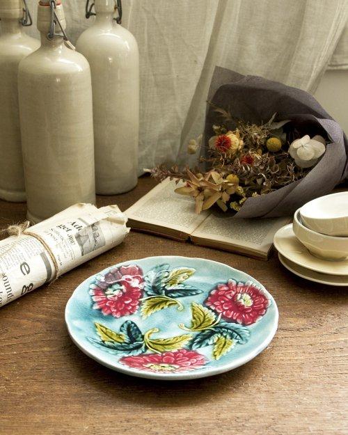 """バルボティーヌプレート """"花"""".d  Barbotine Plate """"  Flower"""""""