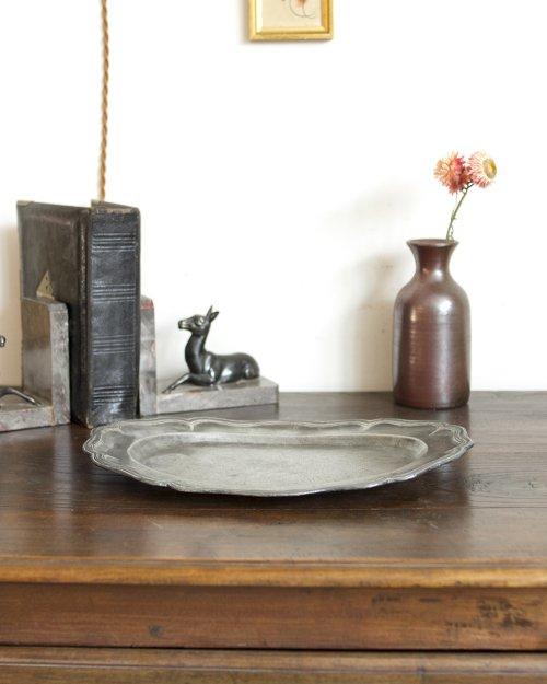 オーバル型 花リム ピュータープレート  Etain Plate