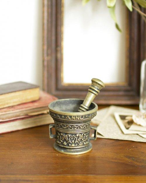 青銅製 すり鉢・すりこぎ  Bronze Mortar and Pestle