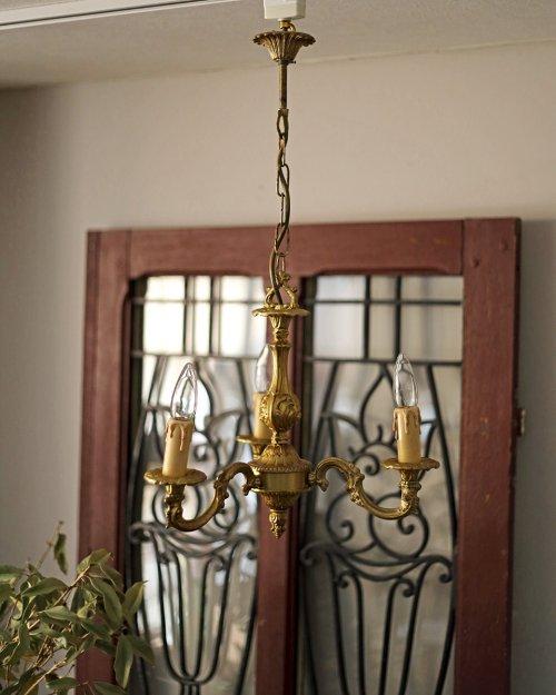 ブロンズ製 3灯シャンデリア.a  Bronze Chandelier
