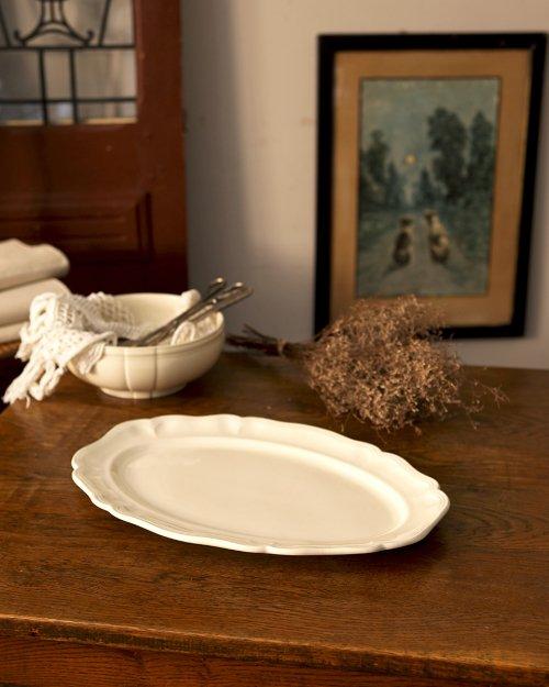 """サルグミンヌ  花リム オーバルプレート.L  """"Sarreguemines"""" Oval Plate (large)"""