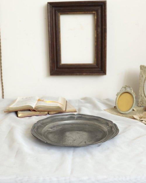 花リム ピュータープレート.d  Etain Plate.4