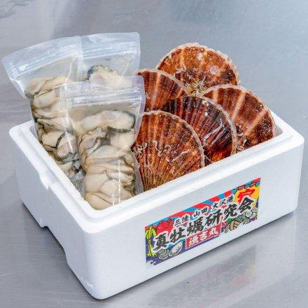 真牡蠣研究会のホタテ5枚とむきカキ[加熱用](300g×3個)セット【送料込】