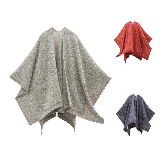 tate-S 羽織るポンチョ / ほっとする手ざわり ポケット付き