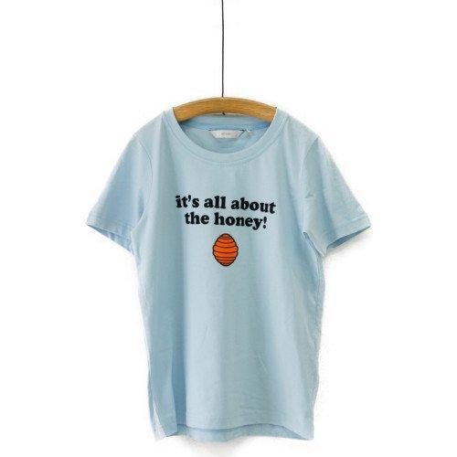 【SALE60%オフ】NUMPH ニンフ<br>プリントTシャツ ホワイト ペールブルー<br>デンマーク/メール便対応可能