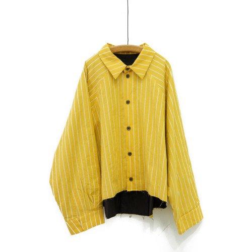 My Beautiful Landlet マイビューティフルランドレット<br>washing pinstripe LS short shirt<br>送料無料/日本